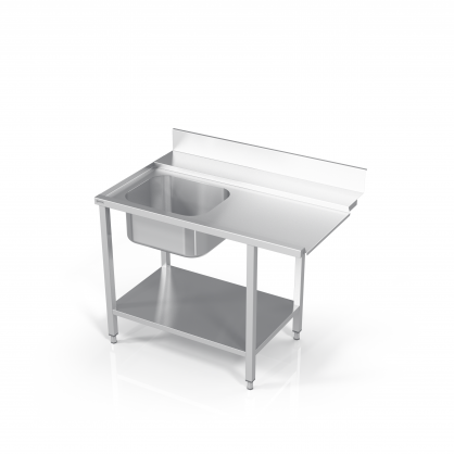 Table to Dishwasher With 1 Sink and Reinforced Shelf