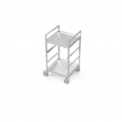 Trolley for Dishwasher Baskets With 2 Plate Shelf