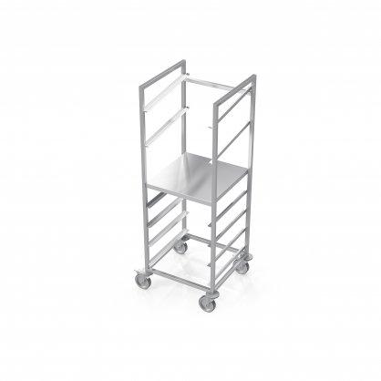 Trolley for Dishwasher Baskets With Plate Shelf